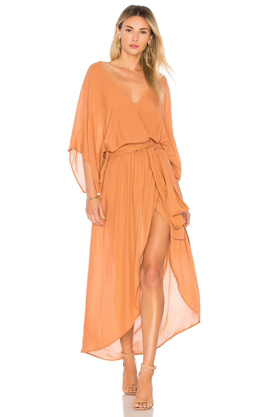 Indah Quill Kimono Maxi Dress in Clay