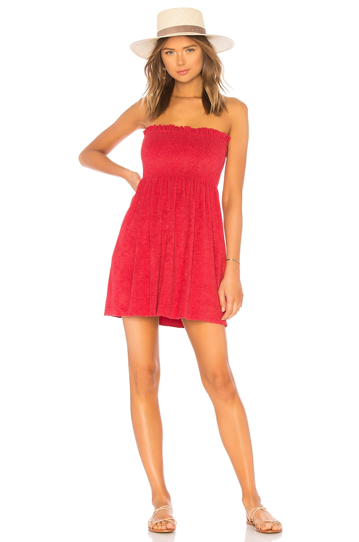 Indah Mercy Strapless Mini Dress in Red