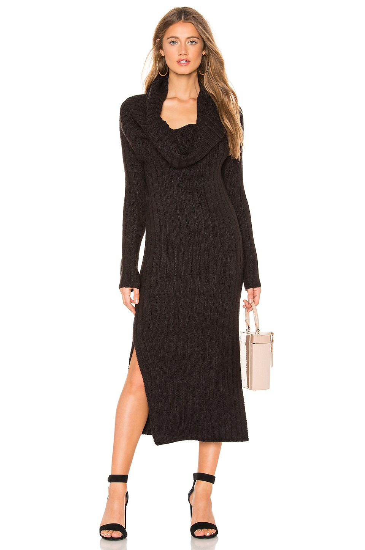 Indah Cappuccino Cowl Neck Dress in Black