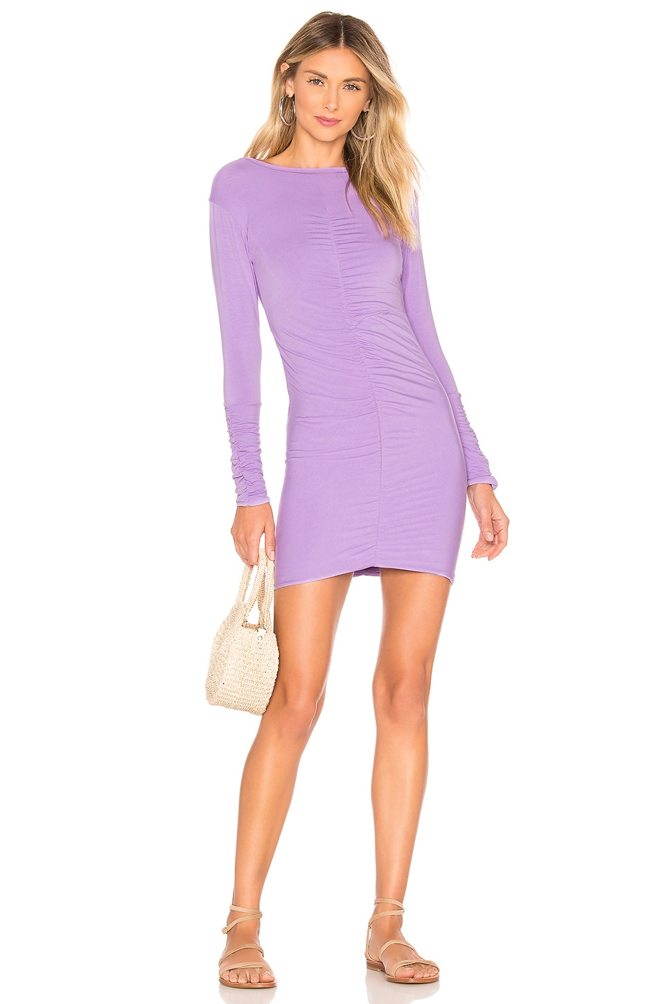 Indah Marzipan Ruched Mini Dress in Lilac