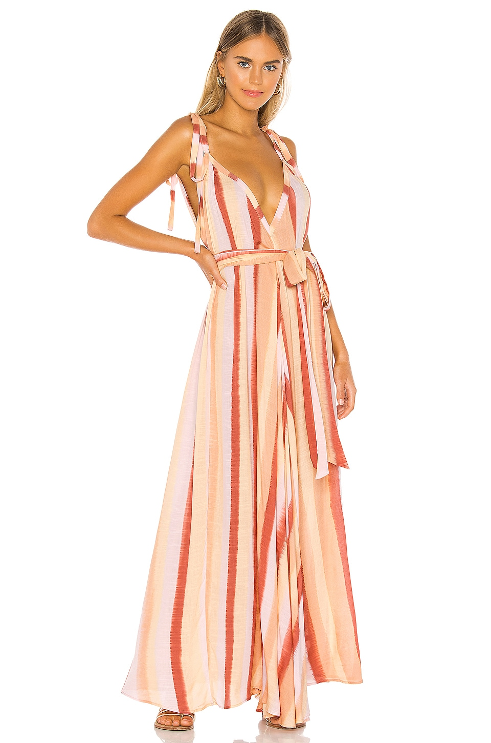 Indah Vivian Modern Goddess Maxi Dress in Sunrise Stripe