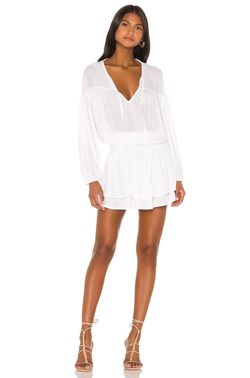 Indah Sashi Solid Blouson Mini Dress in White