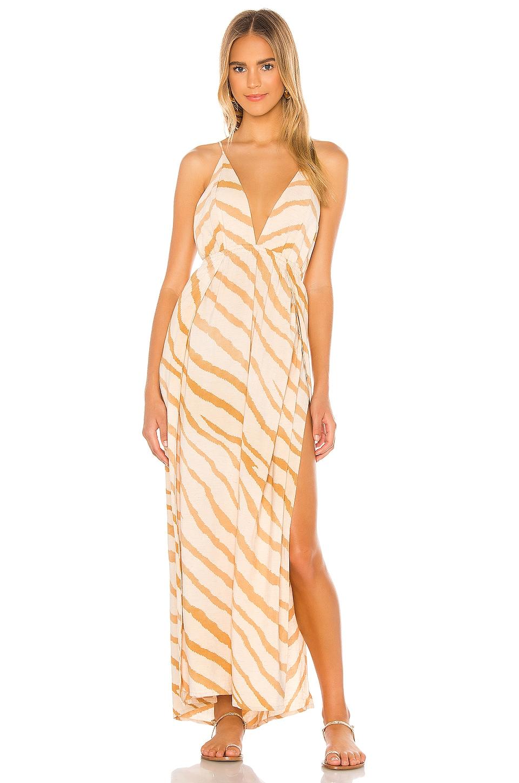 Indah River Triangle Plunge Wrap Skirt Maxi Dress in Golden Zebra