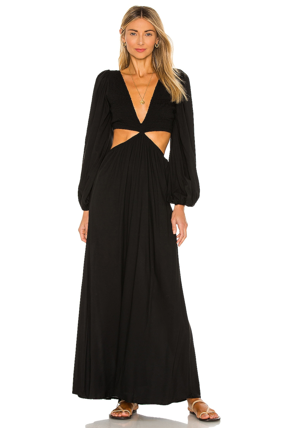 Indah Julie Solid Ruched Bodice Cutaway Maxi Dress in Black