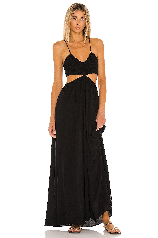 Indah Innocence Solid Smocked Maxi Dress in Black
