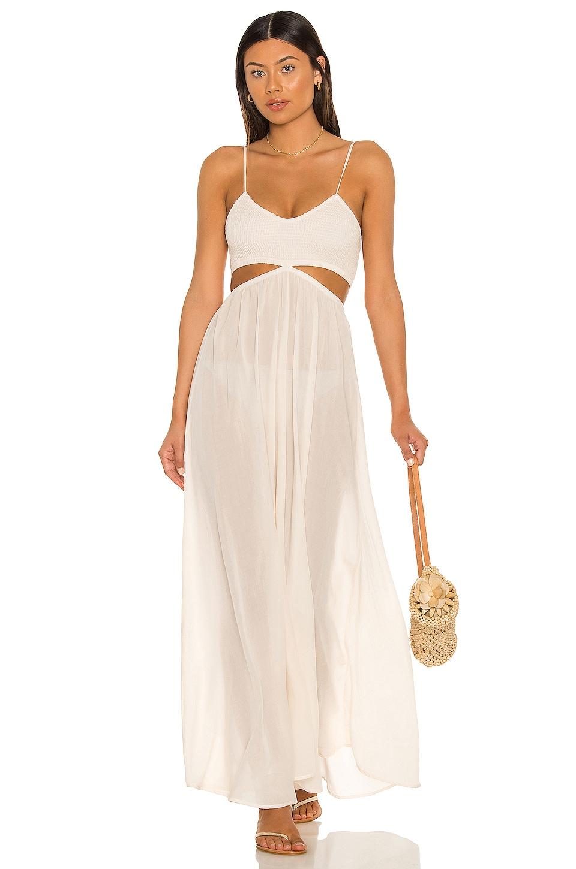 Indah Innocence Solid Smocked Maxi Dress in Opal