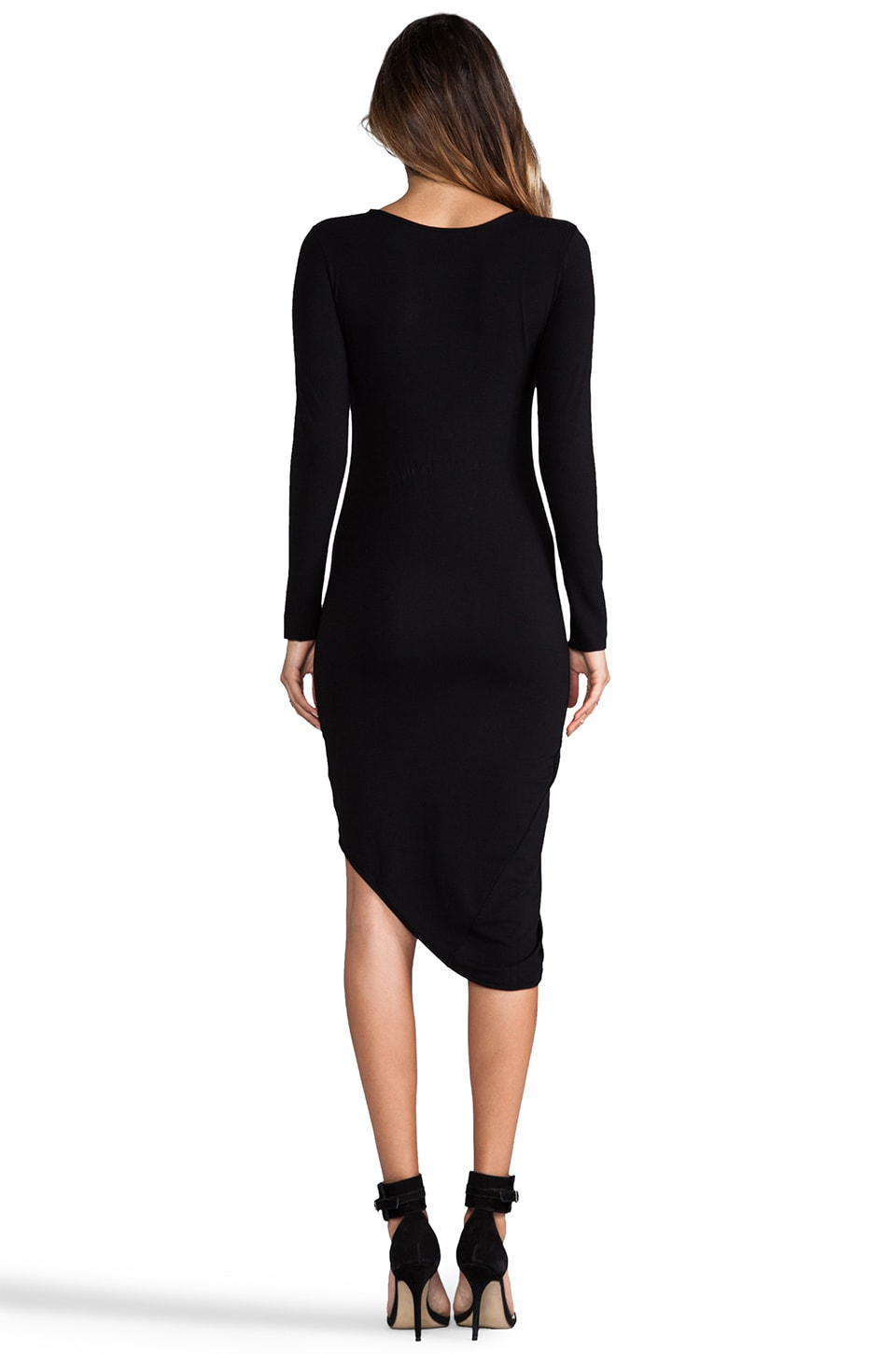 Indah Salju Long Sleeve Sexy Dress in Black