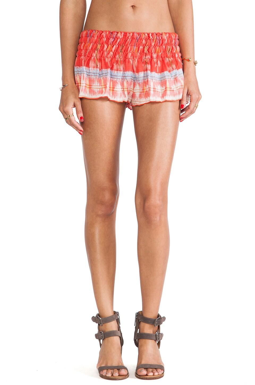Indah Mika Smock Band Flounce Shorts in Coral Endek