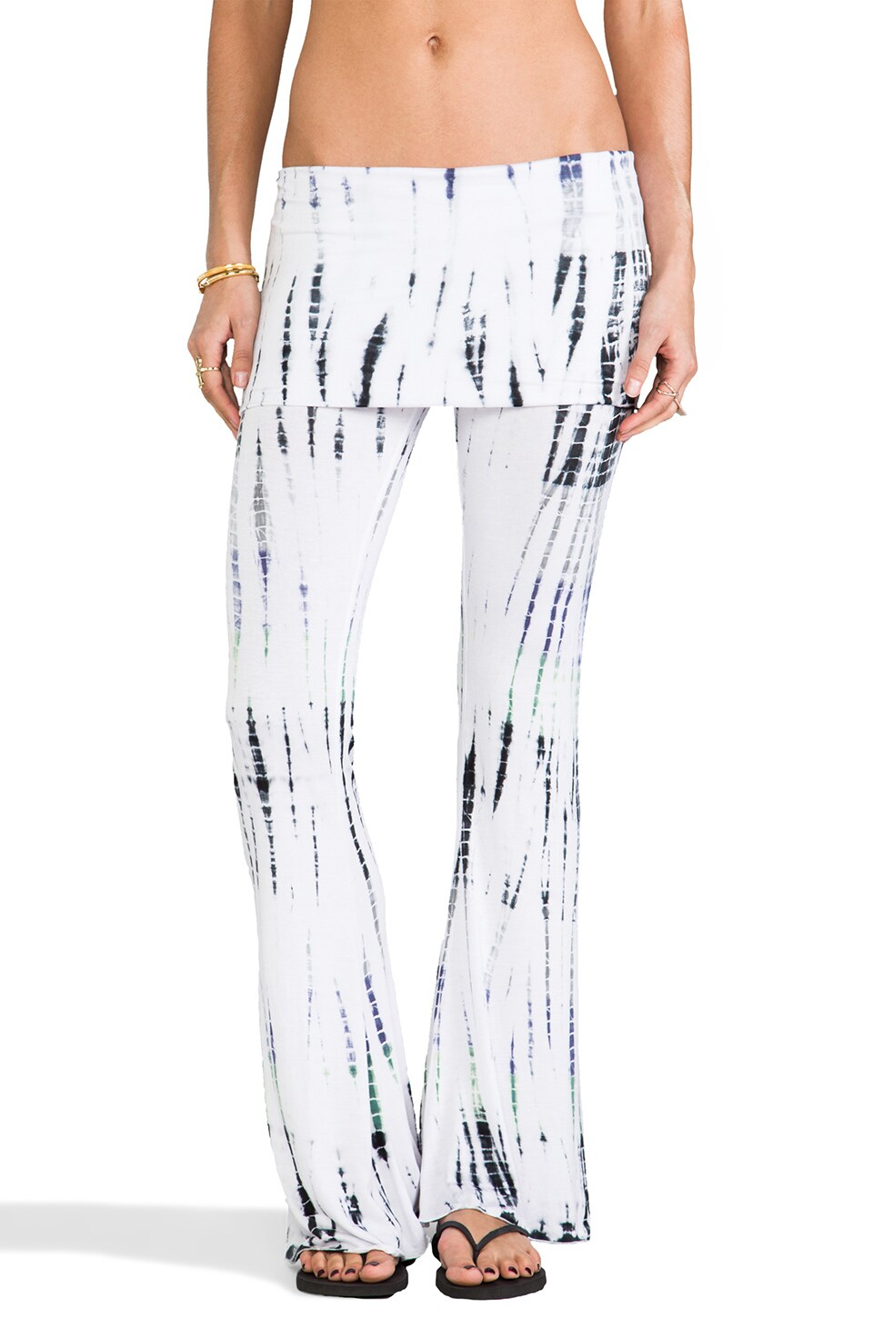 Indah Ainslie Flare Lounge Pant in Fade Streak Green Mix