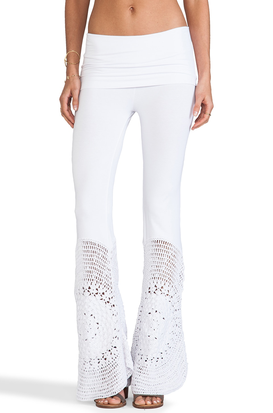 Indah Trigger Lounge Pant with Crochet Flare in White