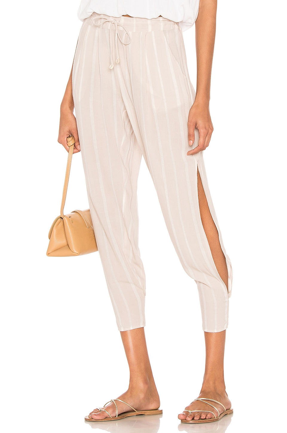 Indah Alligator Side Slit Pant in Stone Stripe