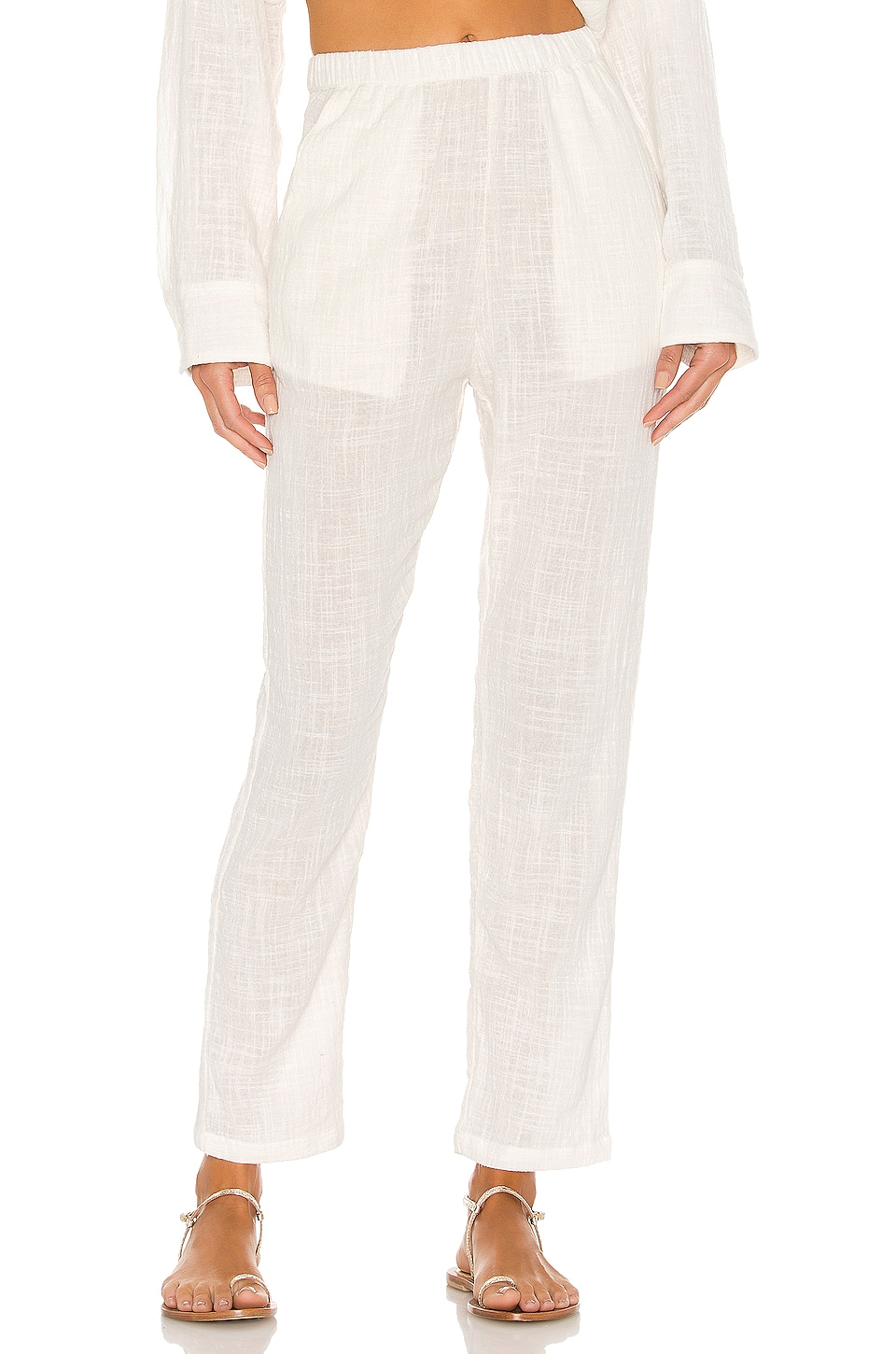 Indah Cypress Solid Simple Pant in Ivory
