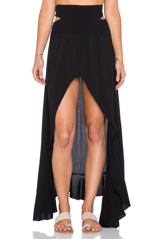 Indah Kodiak Hi Lo Ruffle Maxi Skirt in Black
