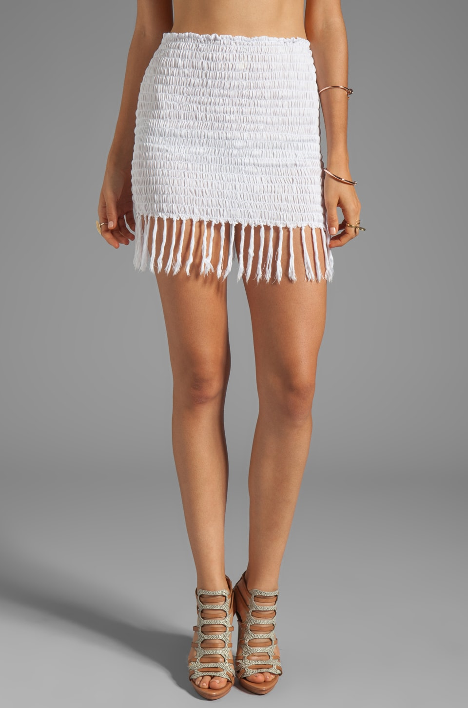 Indah Bronte Smock Fringe Mini Skirt in White