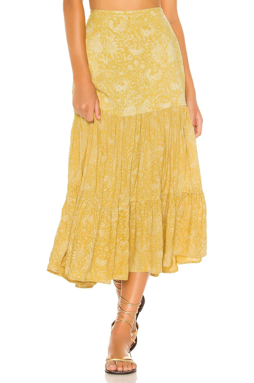 Indah Bolare Printed Modern Cowgirl Tiered Midi Skirt in Saffron Batik