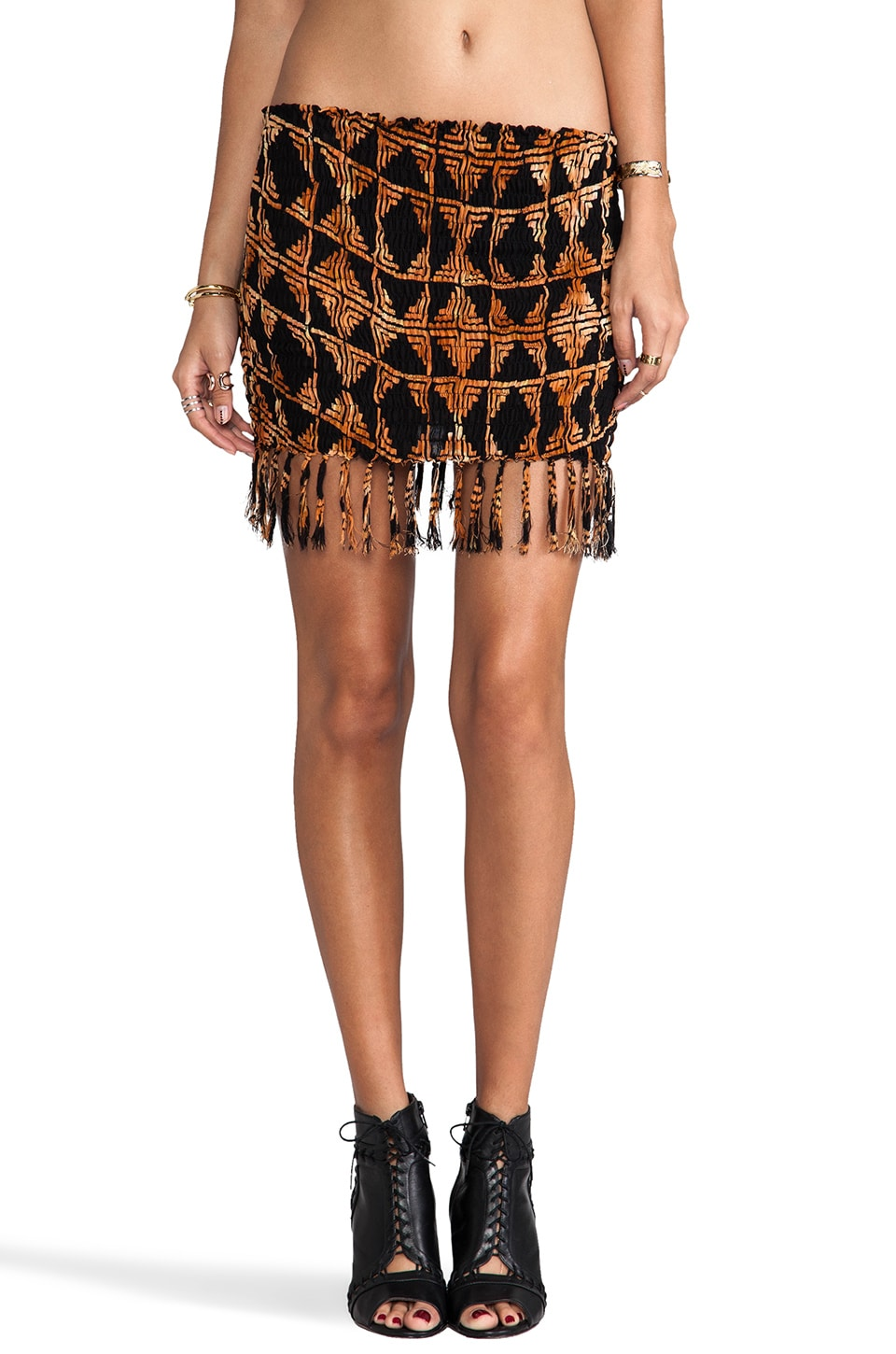 Indah Bronte Smock Fringe Mini Skirt in Black Tahiti