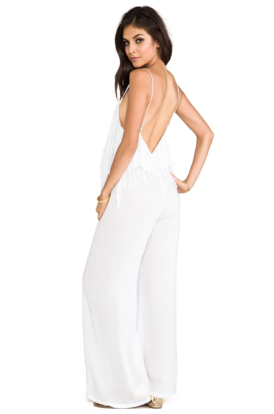 Indah Tenno Fringe Flounce Jumpsuit in White