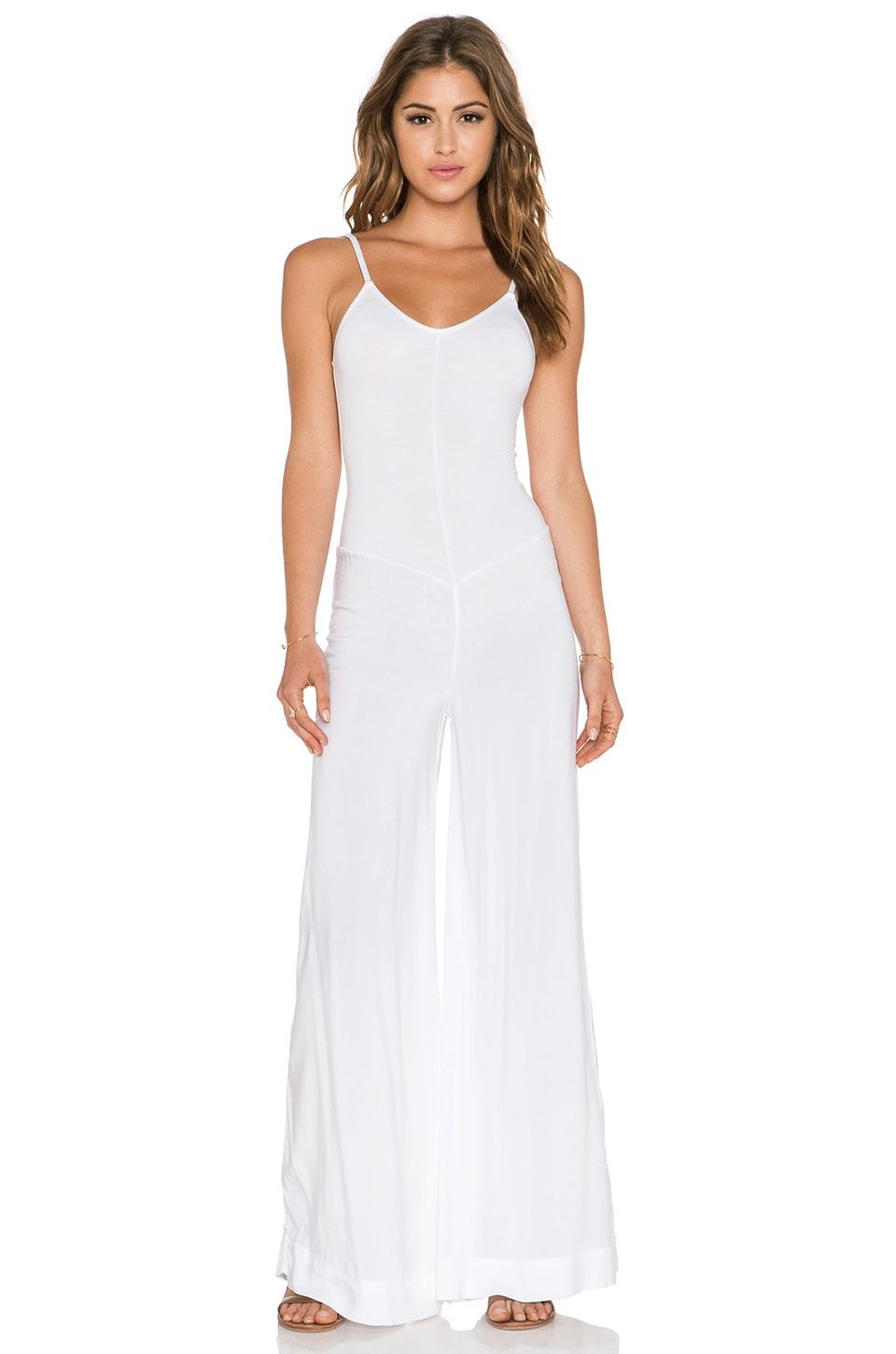 Indah Bianca Wide Leg Jumpsuit in White