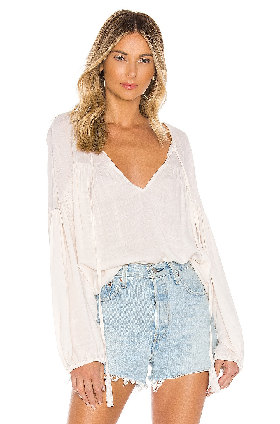 Indah Somi Easy Oversize Summer Blouse in Opal