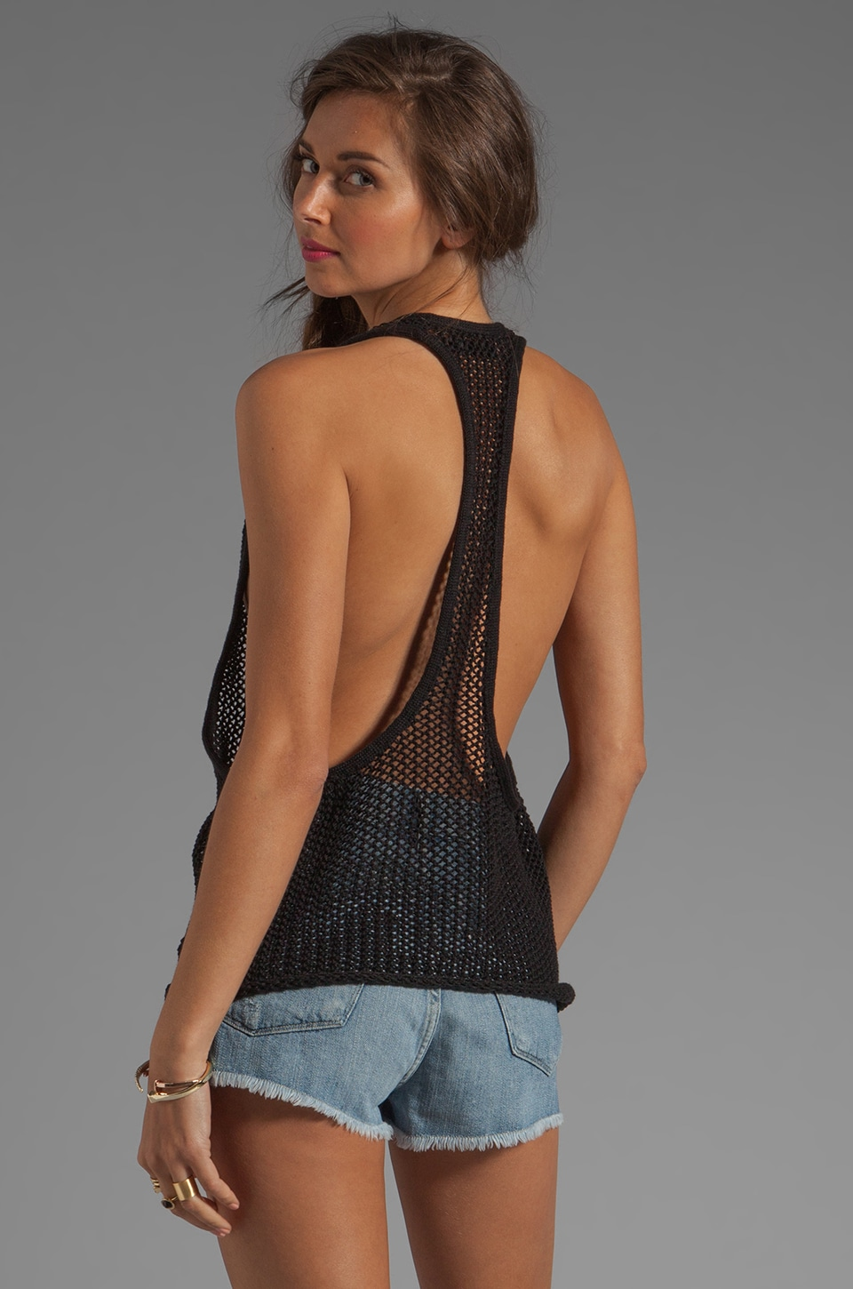 Indah Gaya Hand Knit Mesh Tank in Black