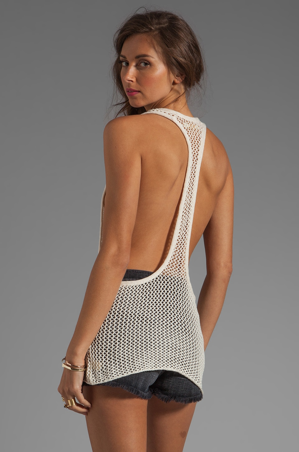 Indah Gaya Hand Knit Mesh Tank in Natural