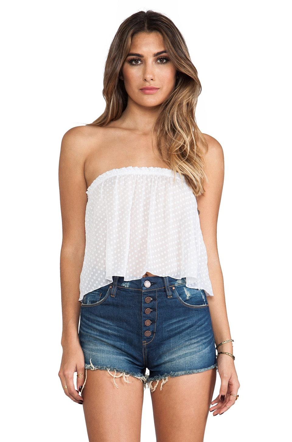 Indah Star Strapless Tube Top in White