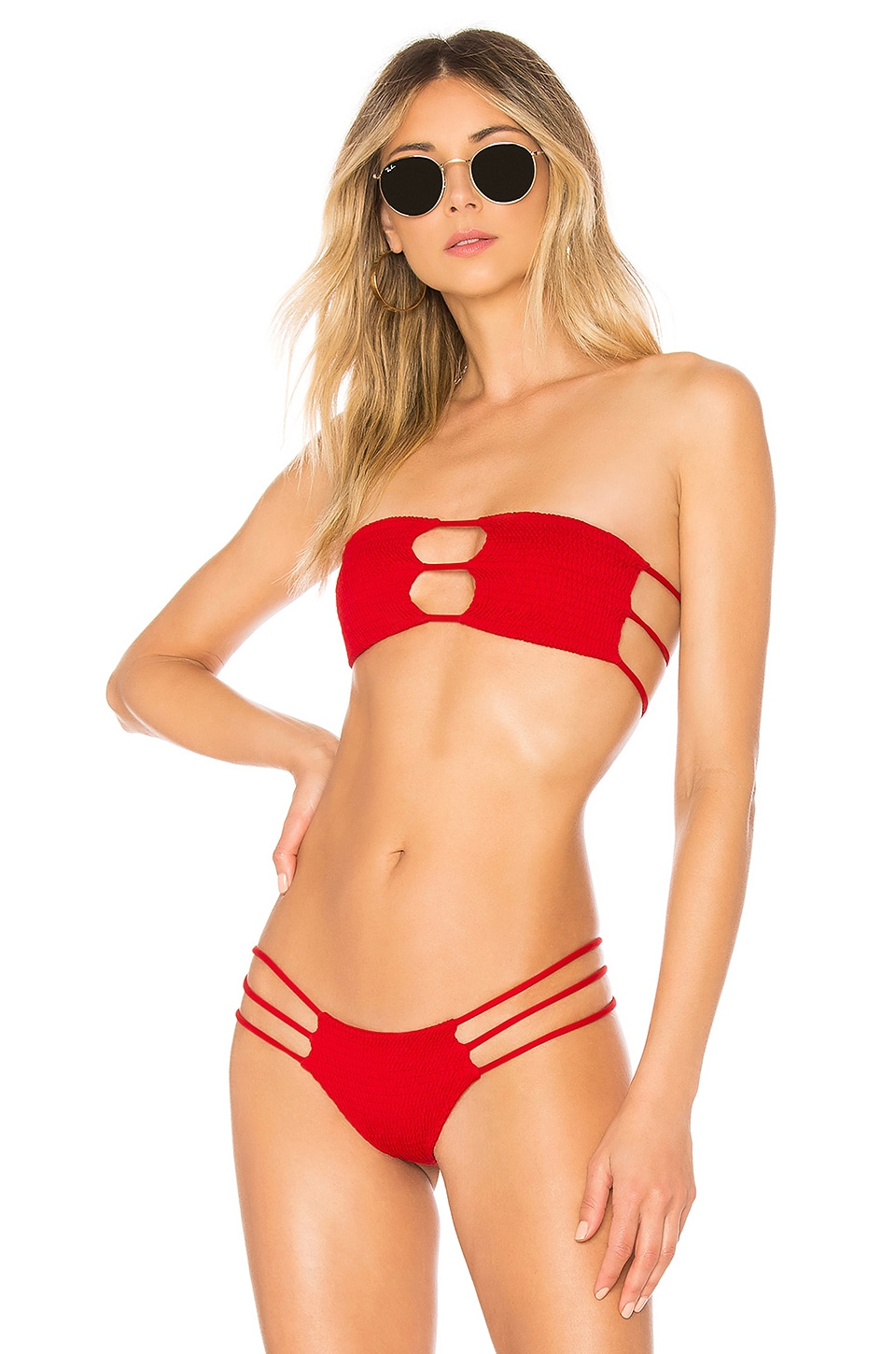 Indah Moto Bandeau Top in Red