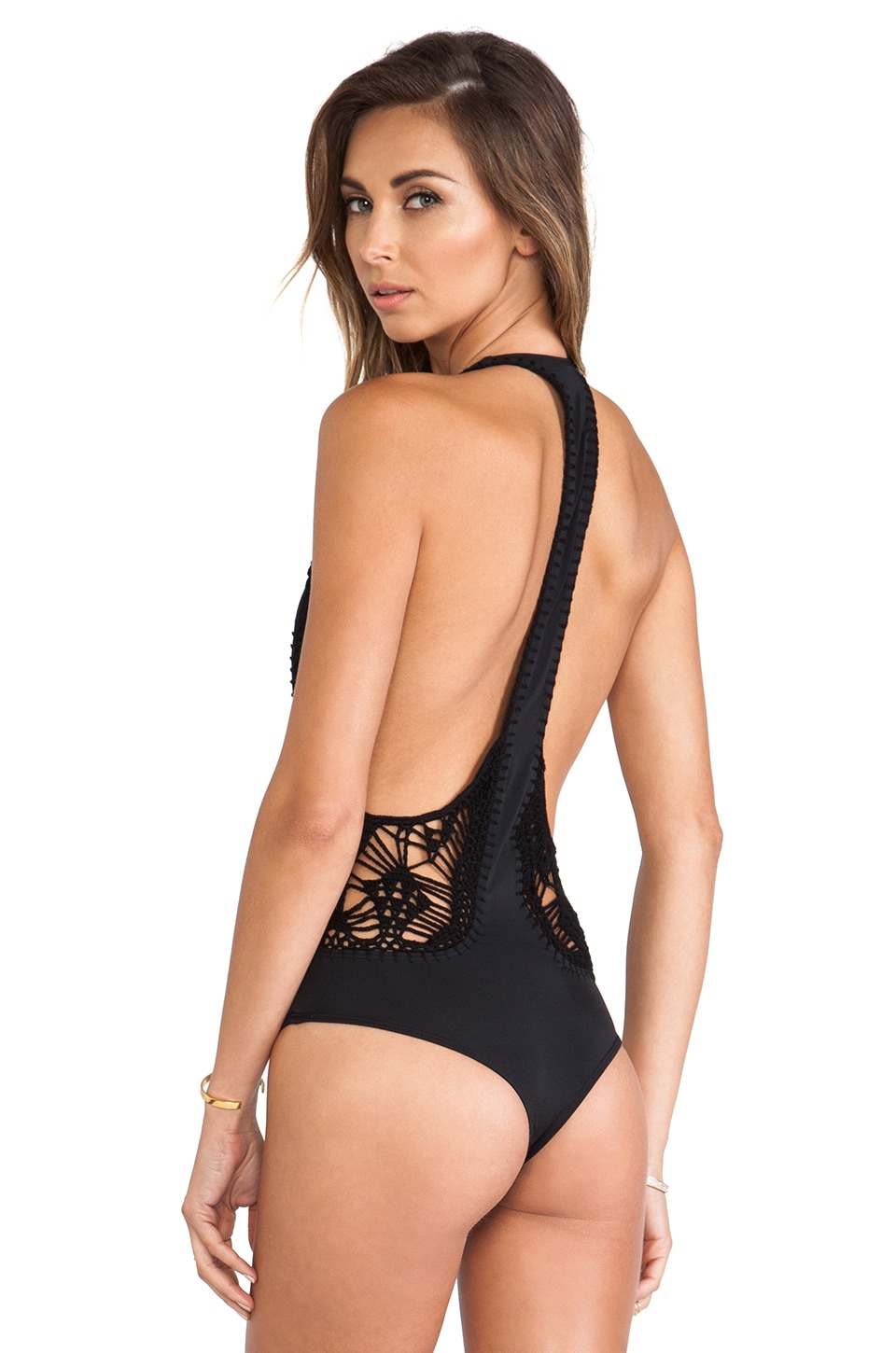 Indah Pagoda Crochet MC One Piece in Black