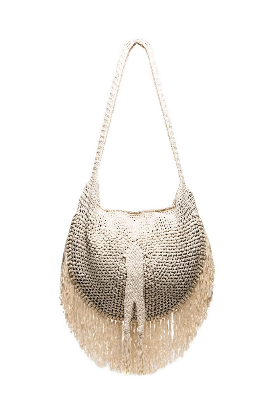 Indah Sesame Fringe Shoulder Bag in Ivory