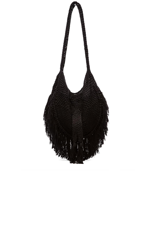 Indah Seasame Hand Crochet Fringe Bag in Black & Snake