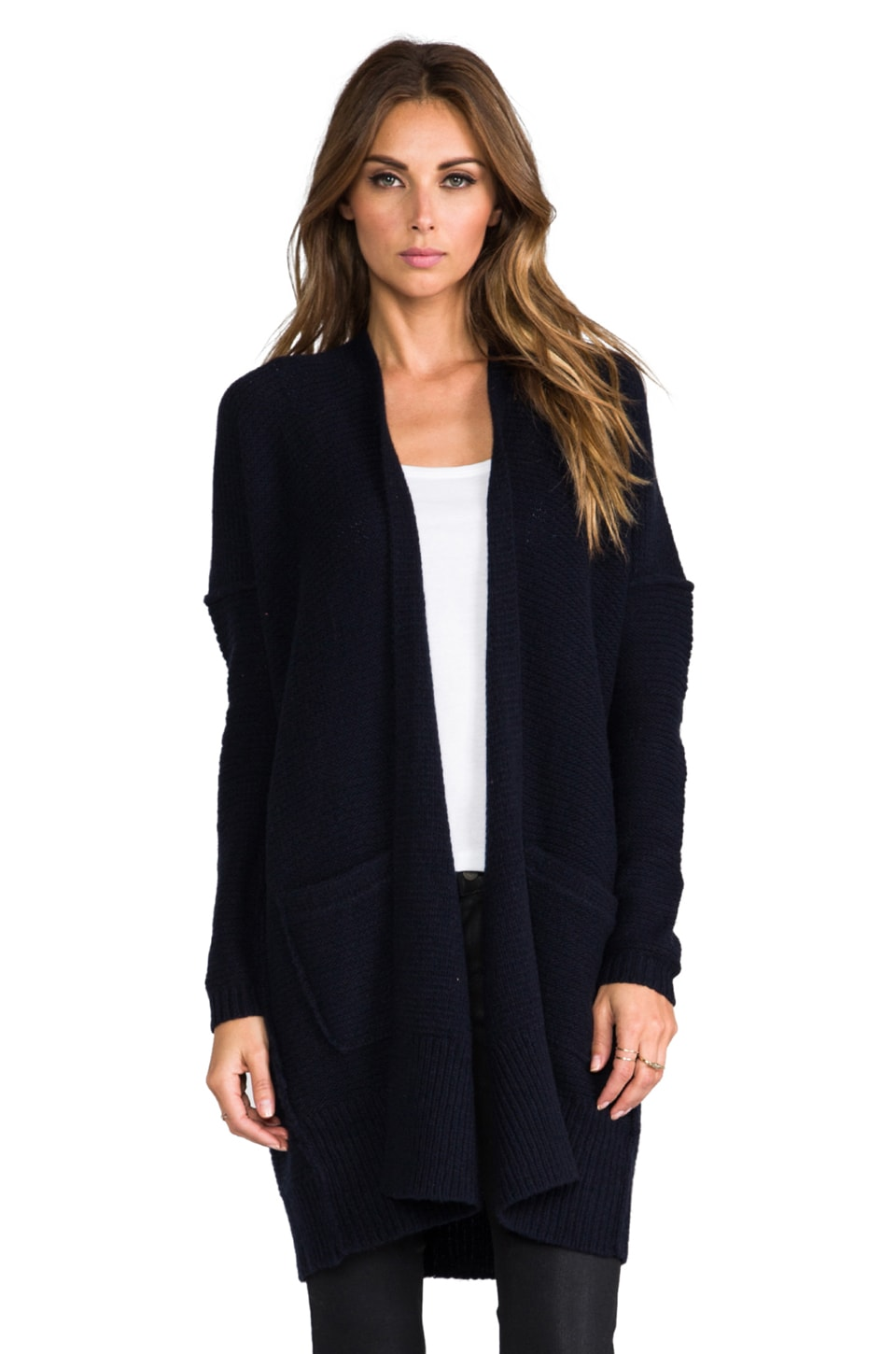 Inhabit Cashmere Chainette Cardigan in Navy