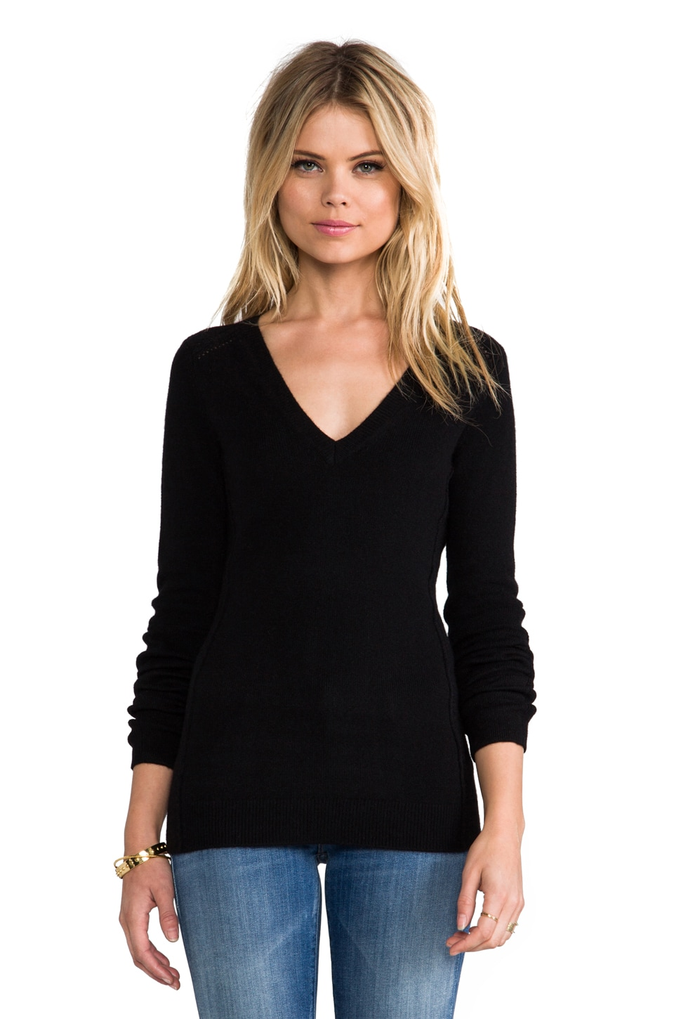Inhabit Cashmere Stretch V-Neck Sweater in Black
