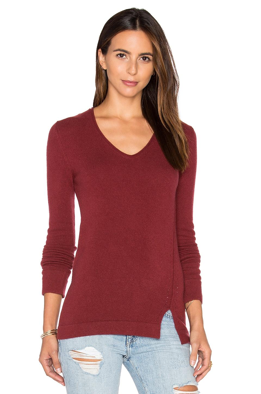 Inhabit Side Slit V Neck Sweater in Berry