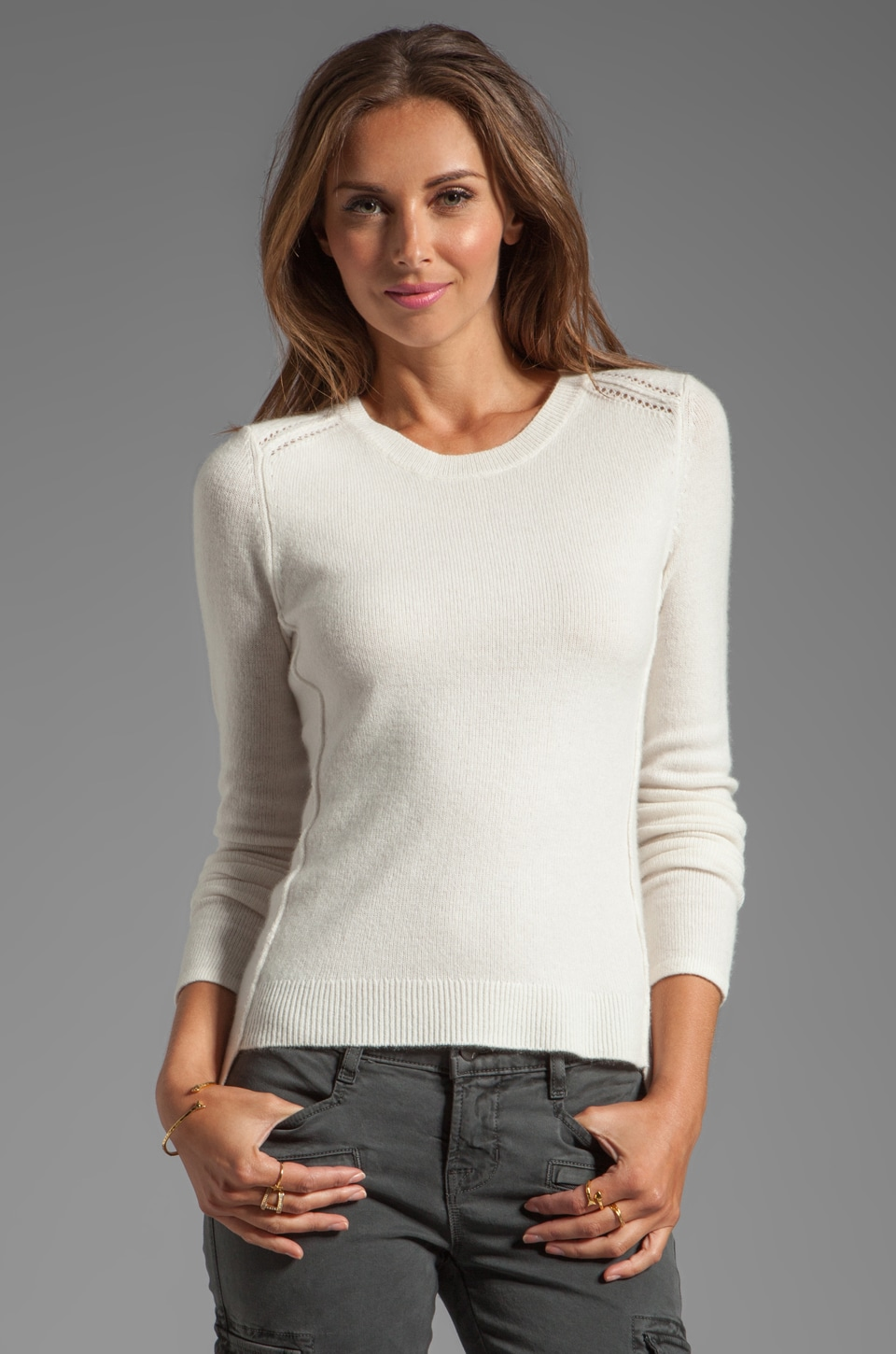 Inhabit Cashmere Crewneck Sweater in Ivory