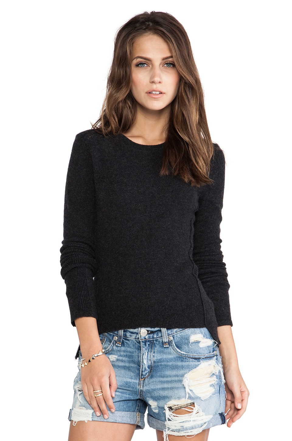 Inhabit Cashmere Crewneck Sweater in Charcoal