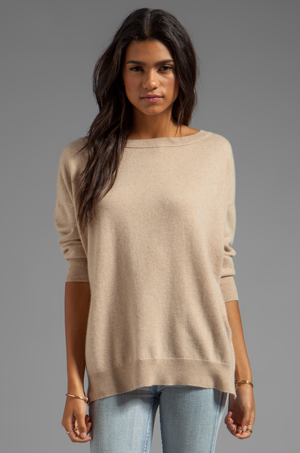 Inhabit Cashmere Weekend Sweater in Camel
