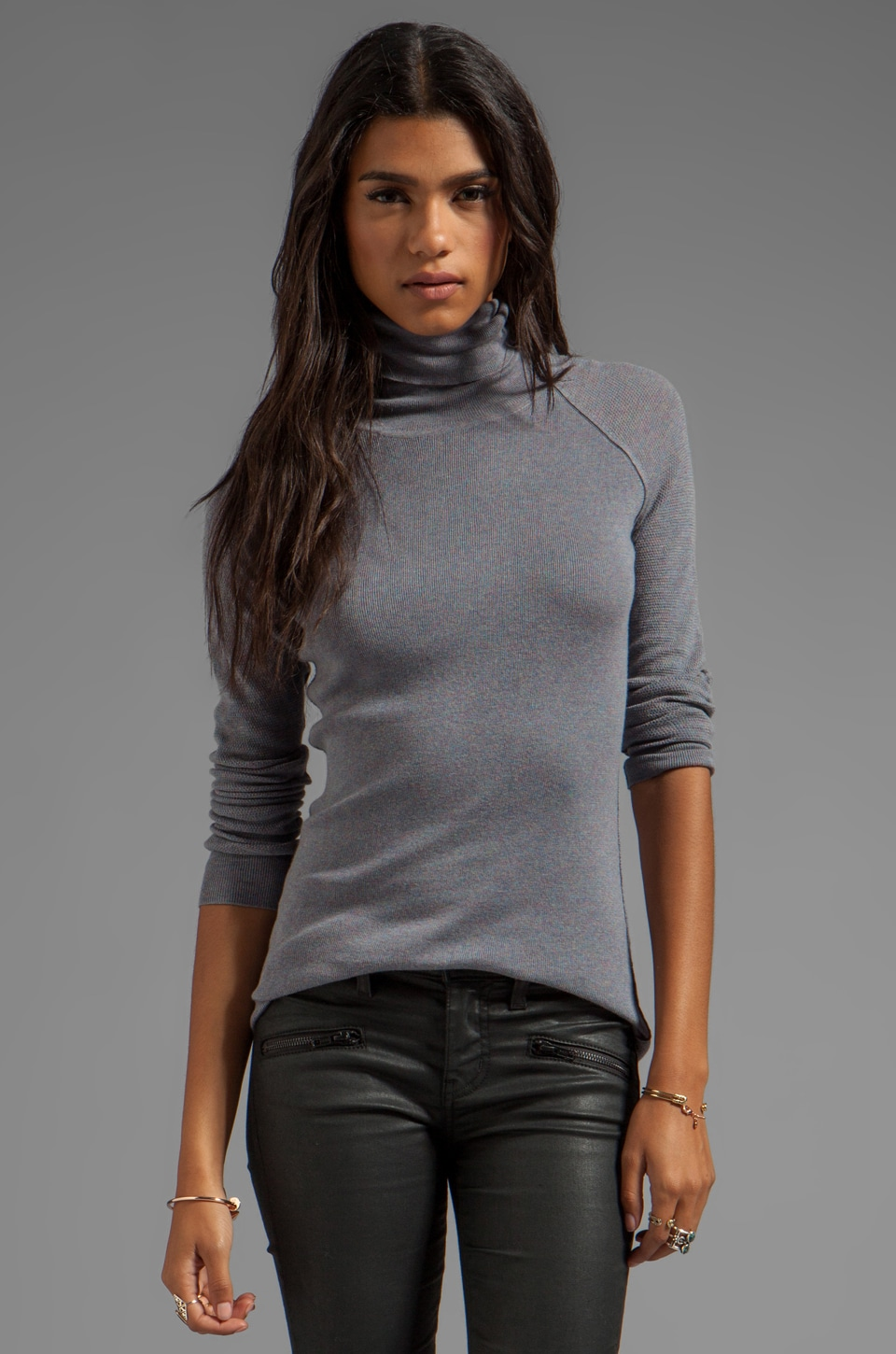Inhabit Cotton Turtleneck in Grey