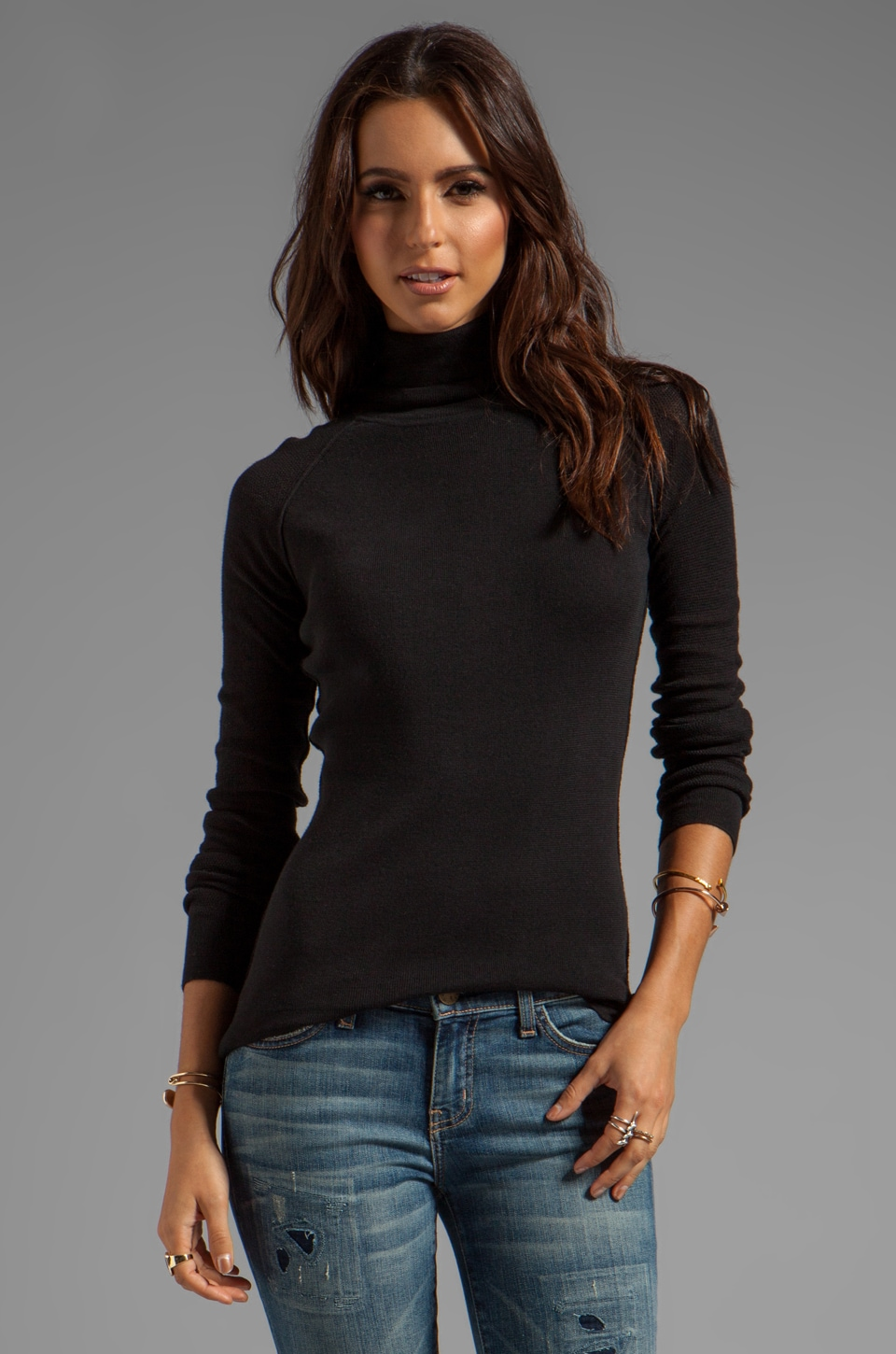 Inhabit Cotton Turtleneck in Black