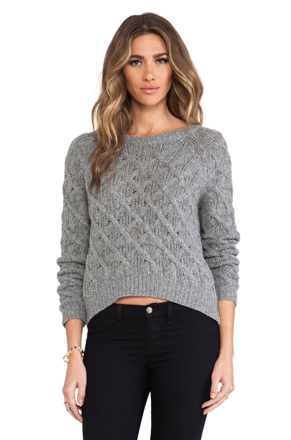 Inhabit Cashmere Chainette Sweater in Mid-Grey