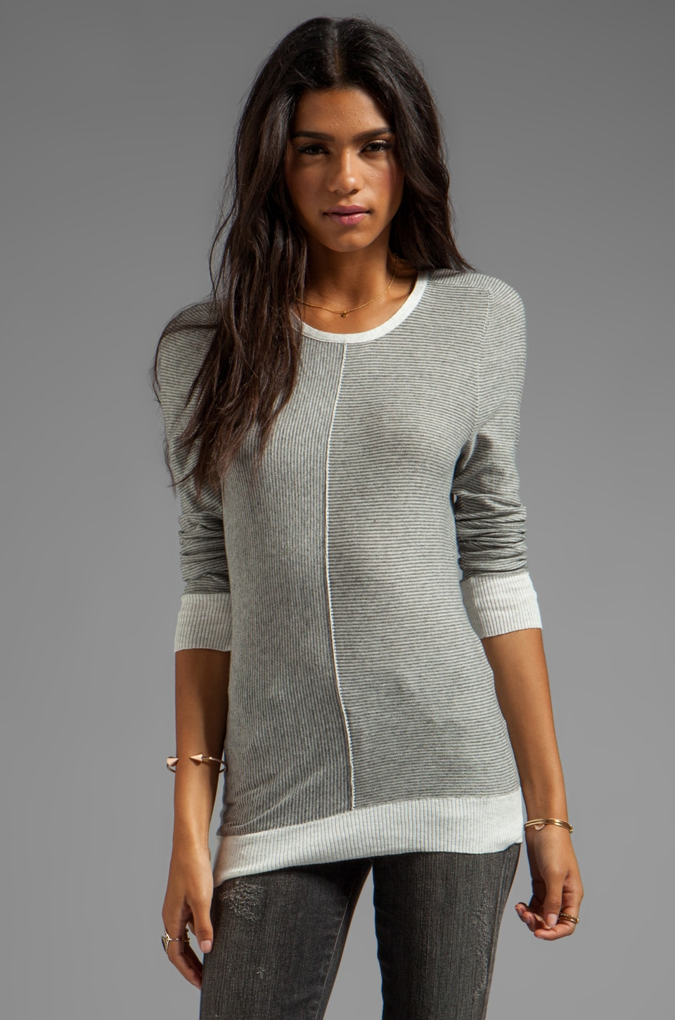 Inhabit Micro-Stripe Long Sleeve Pullover in Sterling