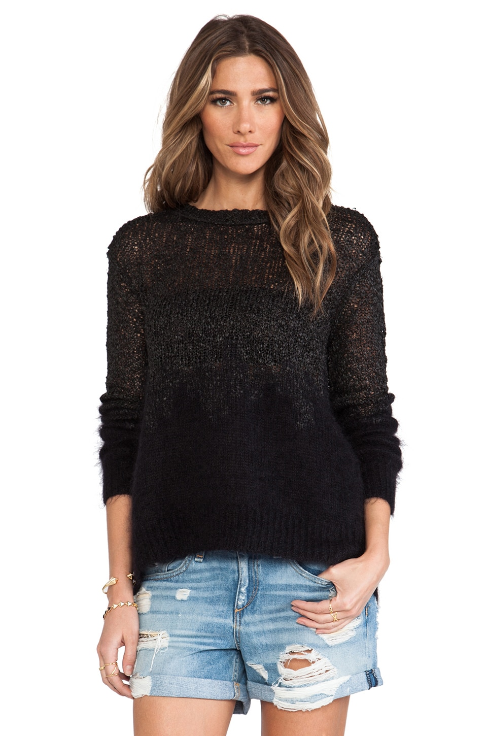 Inhabit Leather Ombre Sweater in Black