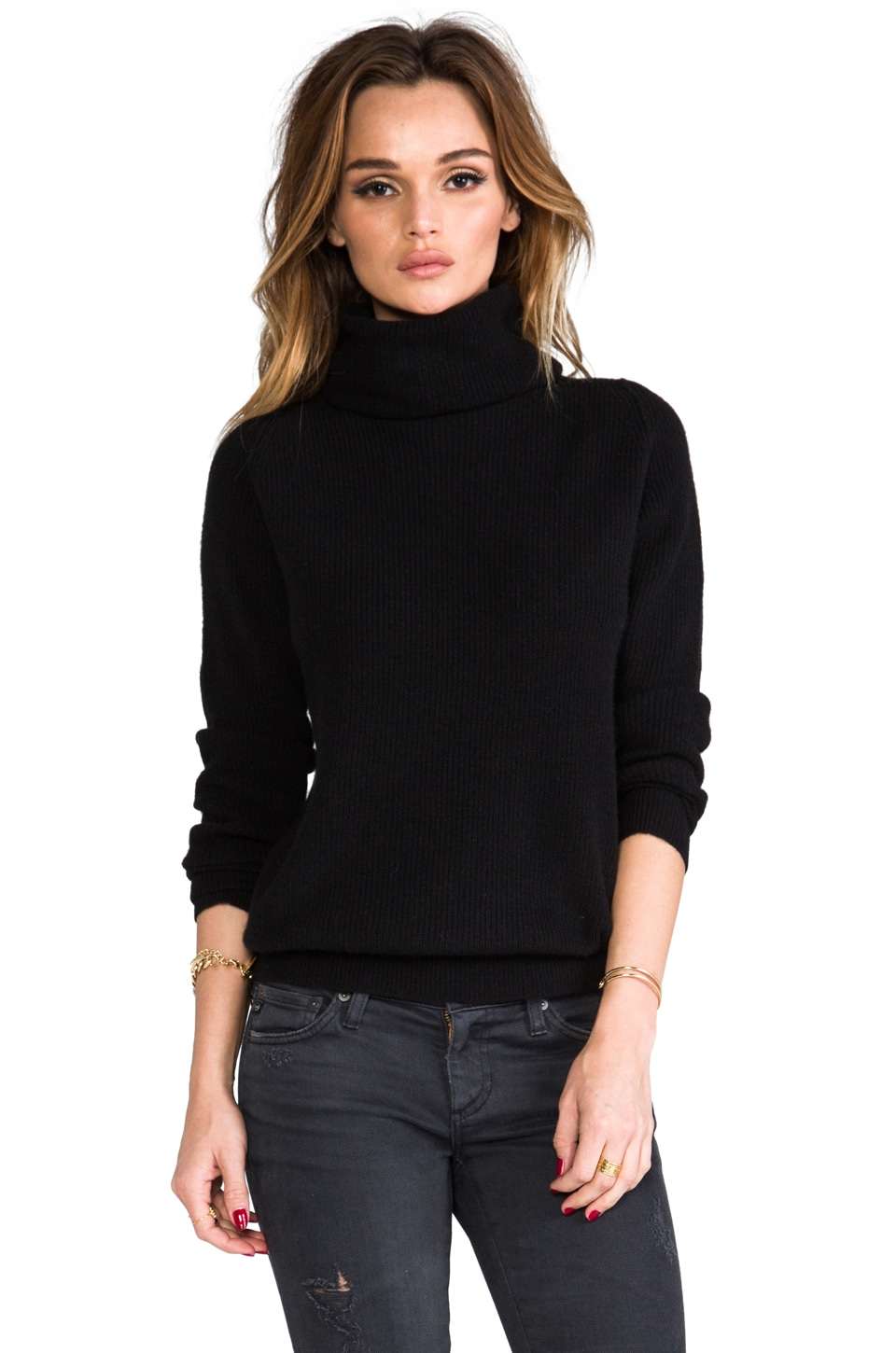 Inhabit Cashmere Shaker Turtleneck in Black