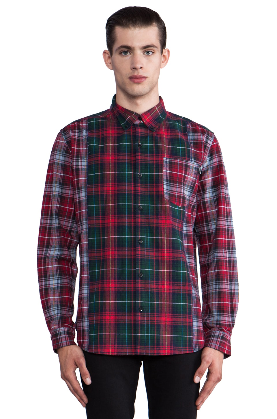 Insight Check Mate Long Sleeve Button Down in Beet