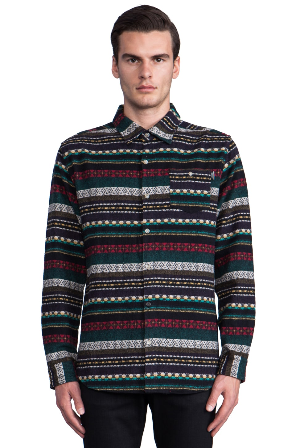 Insight Loom Doom Long Sleeve Button Down in Astro Turf Green