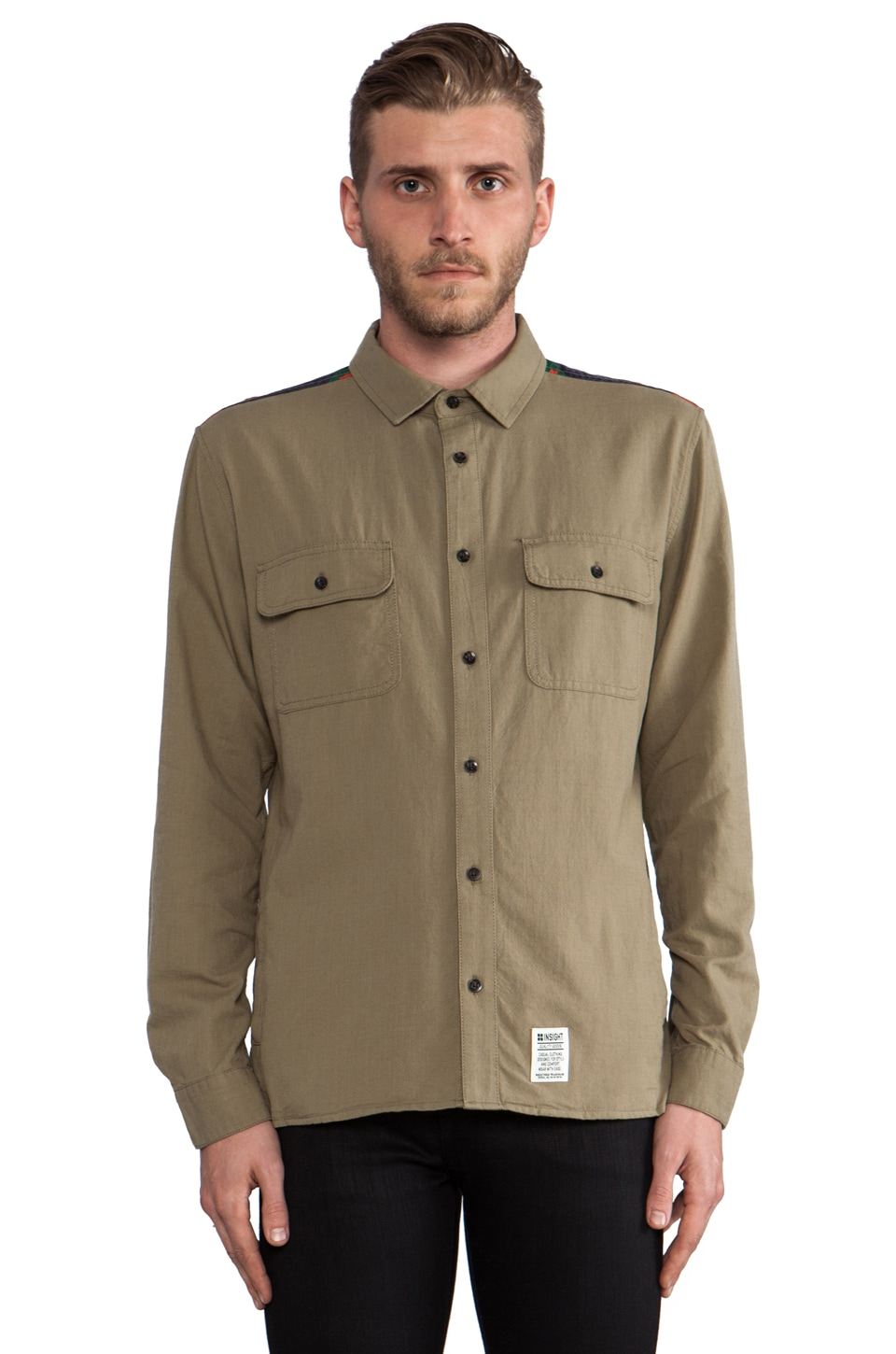Insight Mountain Fold Button Down in Kool G Khaki