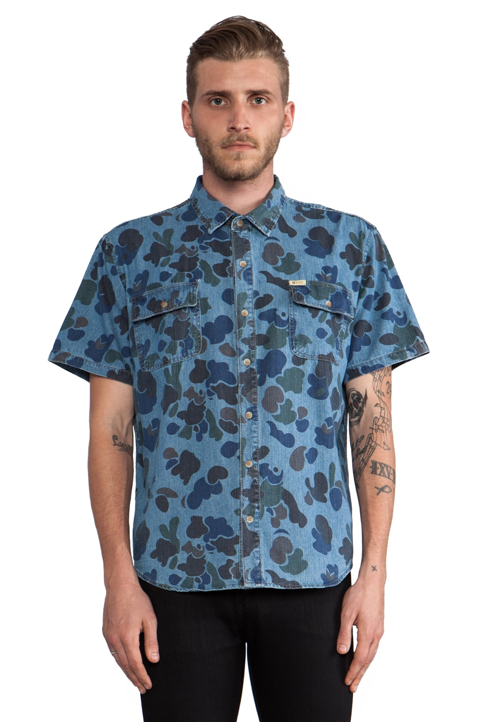 Insight Dead Man Button Down in Camo Blue