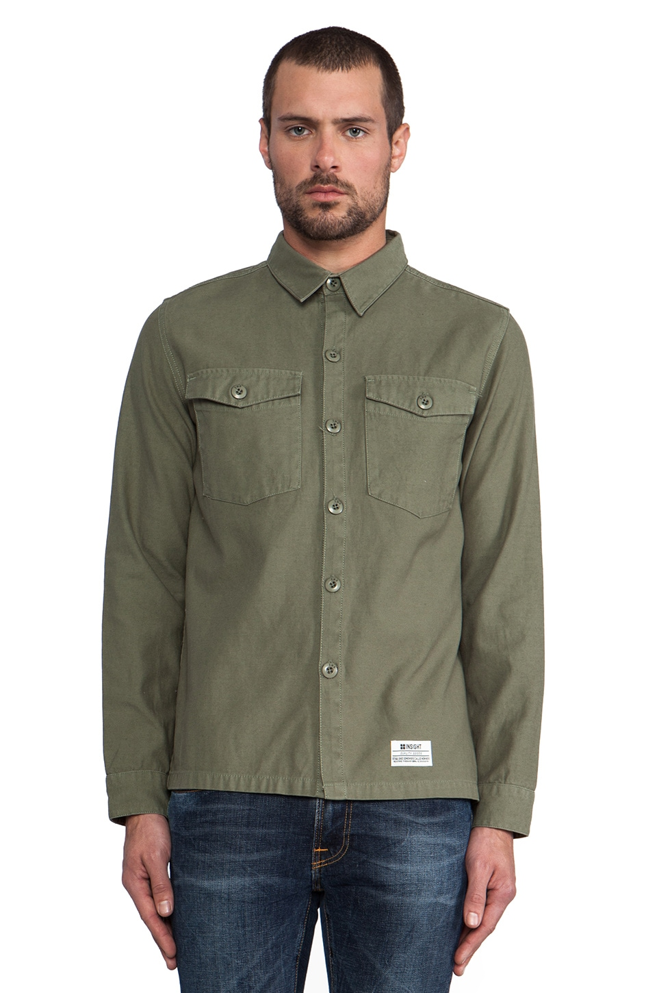 Insight Last Exit II Button Down in Surplus Green