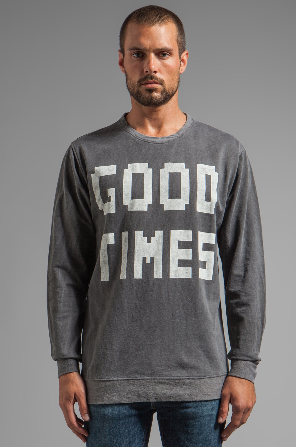 INSTED WE SMILE Good Times Jumper in Gun Metal Grey