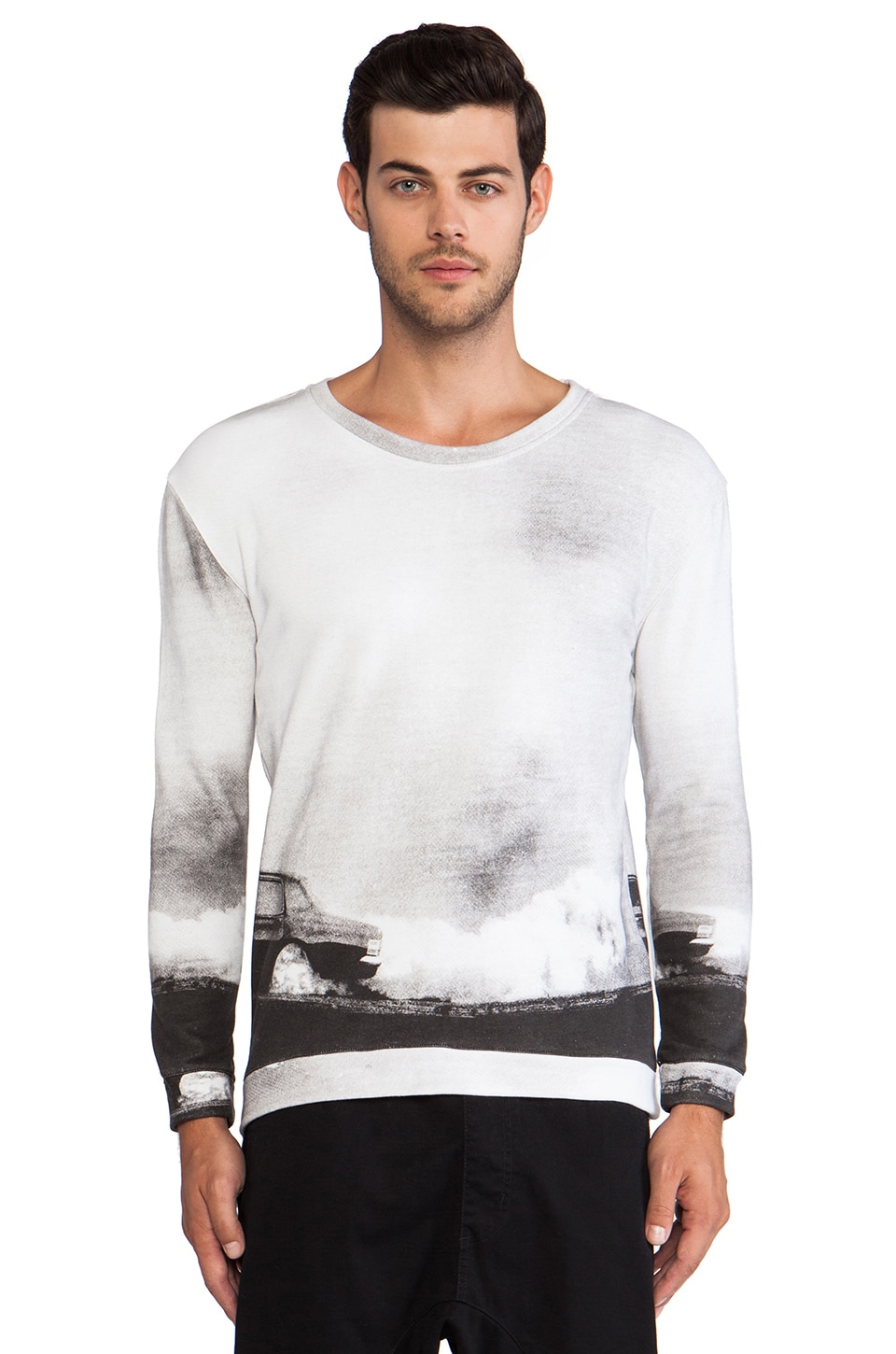 INSTED WE SMILE Black and White Burnout Sweater in Black/White