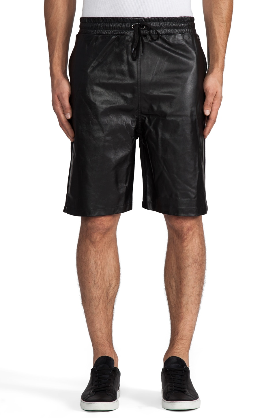Iridium Leather and Cotton Shorts in Black